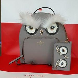 Kate Spade OWL back pack w/ wallet keychain set
